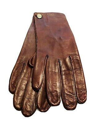 Etienne Aigner Brown Leather Vintage Driving Gloves Size 7 1/2""