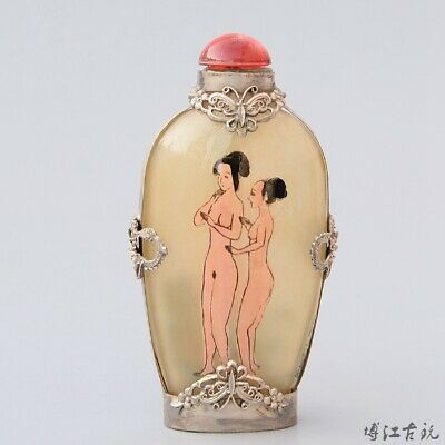 Collect Old Miao Silver Armour Glass Inside Painting Naked Beauty Snuff Bottle