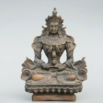 Collectable China Old Bronze Hand-Carved Buddhism Kwan-Yin Decorate Luck Statue
