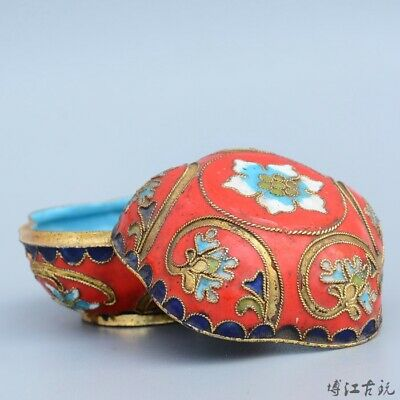 Collection China Culture Old Cloisonne Hand-Carved Delicate Noble Girl Rouge Box