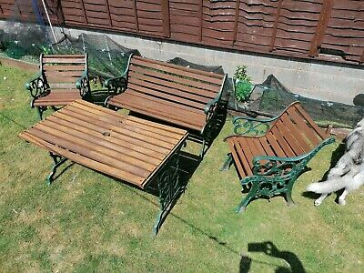 Cast Iron And Wood Garden Table Chairs And Bench Set