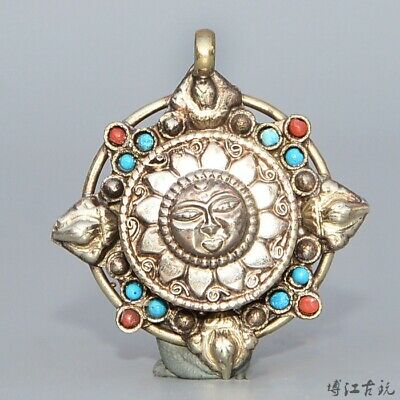 Collect Old Miao Silver Inlay Turquoise Carve Auspicious Sun Goddess Pendant