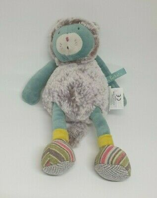 26 - Peluche Doudou Chat Vert Gris Les Pachats Moulin Roty Neuf