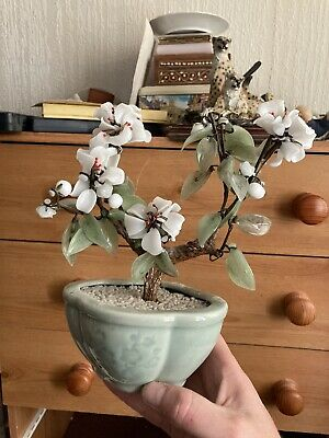 Vintage Asian Multi Coloured Glass Bonsai Blossom Tree SIGNED Green Ceramic Pot