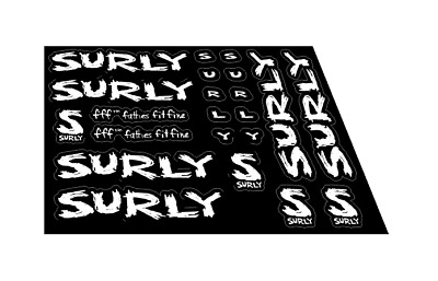 """4ea Surly Bikes Sticker Decal Bicycles 5/"""" Die Cut Black White XO Replacement"""