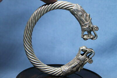 Collectable Ancient Miao Silver Carved Ancient Mythical Dragon Delicate Bracelet