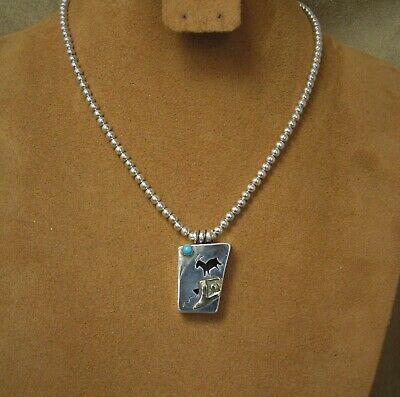 Southwest Silver and Turquoise with Goat and Petroglyph Design