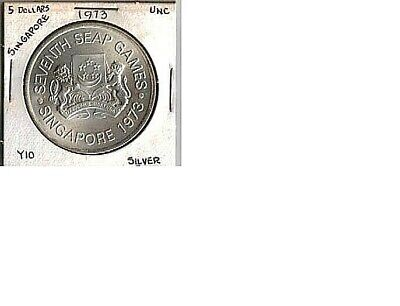 SINGAPORE  1973  5 Dollar Silver   Crown sized Coin (Unc)