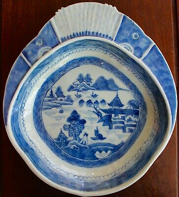 Very Unusual Antique Chinese Flanged Blue And White  Bowl Perfect
