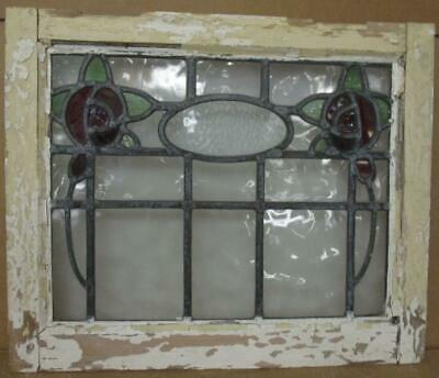 """OLD ENGLISH LEADED STAINED GLASS WINDOW Lovely Double Rose Design 20.5"""" x 17"""""""
