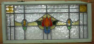 """OLD ENGLISH LEADED STAINED GLASS WINDOW Gorgeous Floral Transom 40.25' x 18.25"""""""