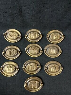 *LOT OF 10* Antique Oval Brass Pulls with Roman Pillars