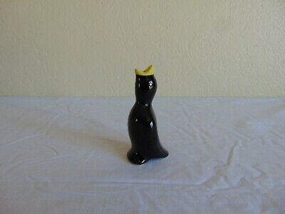 "Vintage Ceramic Black & Yellow 4"" Pie Bird"