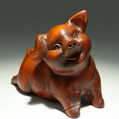Collectable Handwork Antique Boxwood Carve Mischievous lovely Little Pig Statue