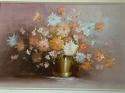 "PAINTING, ""BEAUTIFUL FLOWERS IN A FANCY VASE"" By ? Let Me Know If You Know Him"