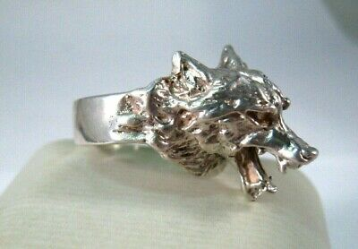 Sterling Silver Wolf Head Ring ~ Size 10