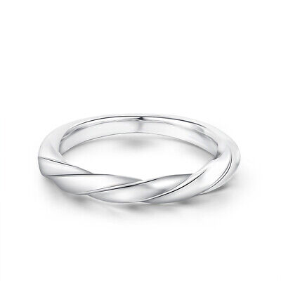 Solid 18k White Gold Unique Band Spiral Twist Ring Anniversary Without Stones