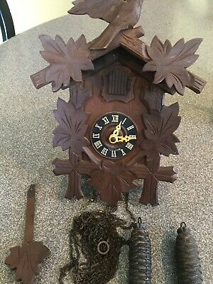 Small German Black Forest Cuckoo Clock w/ Wood Trim Metal and Pine Cone Weights