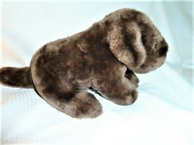 Chocolate Brown Lab Plush Puppy Dog with Pink tongue