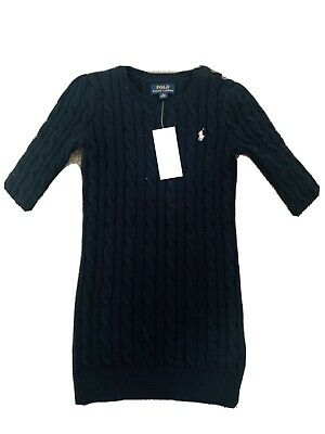 Ralph Lauren Girls Navy Blue Cableknit Junoer Dress Bnwt Age 5