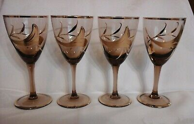 Vintage set of 4 smokey topaz wine glasses with handpainted gold