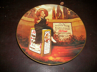 """Kelloggs 1986 limited edition USA made """"On to a good thing"""" collector plate mint"""