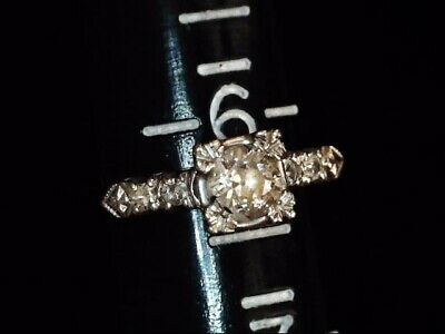 { Vintage Diamond Engagement  Ring .82 Clarity VS1  Color H  14 k White Gold