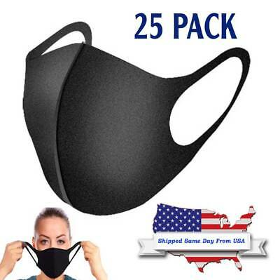 Black Sponge Face Mask Breathable Washable Reusable Masks [25 Pack]