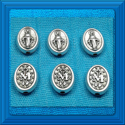 Rosary Parts Our Father Beads 6Pcs Lot 7x9mm OVAL MIRACULOUS MEDAL Antuqued Bead