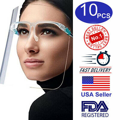 10qty- Full Face Shield Clear Glass Protector Clear Safety Eye Helmet