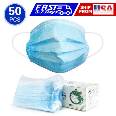 50 Disposable Face Masks – 3-Ply Blue Mask, Non-Woven, Safety Filter Face Shield