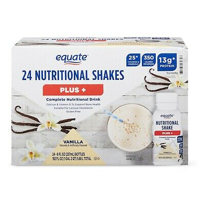 ( 24 Bottles ) Equate Plus, Meal Replacement Weight Loss Vanilla Shake, 8 Oz