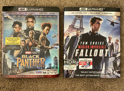 Black Panther & Mission Impossible Fallout 4K UHD Blu-ray LOT Digital Marvel MCU