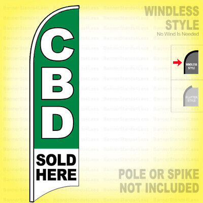CBD SOLD HERE Windless Full Curve Top Advertising Banner Flag
