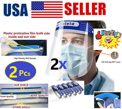 2 PCS Safety Full Face Shield Reusable Washable Protection Cover Face Mask 👍