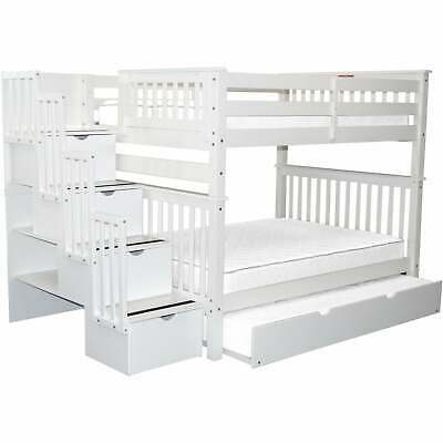 Bedz King Stairway Bunk Beds Twin Over Full With 4 Drawers Grey Twin 934 99 Picclick