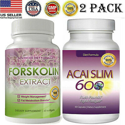 Pure Forskolin Extract Pills Acai Berry Slim Weight Loss Supplement Capsules 2pk