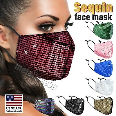 Bling Sequin Glitter Fabric Fashion Face Nose Mask Washable Reusable USA Seller