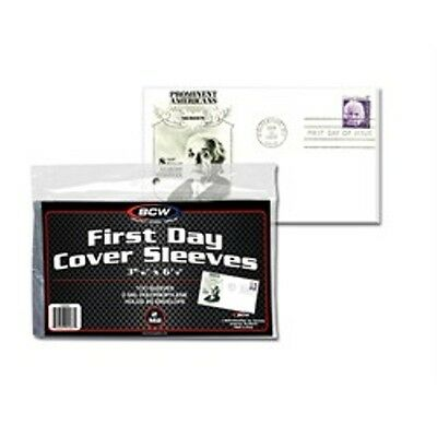 "1 Pack of 100 BCW First Day Cover Sleeves Storage Protection - 3 15/16"" x 6 7/8"""