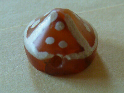 Superb Rare Ancient Etched Carnelian Tibetan Stone Bead  - Monk Hat - Dzi