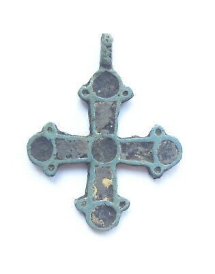 Ancient bronze cross with two-sided enamels Vikings 10-13 AD