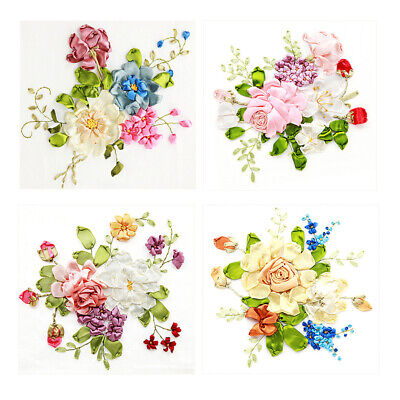 Baosity Handmade Ribbon Embroidery Kits DIY Flower Bouquet Painting Wall Decoration Stamp Embroidery kit No Frame 01