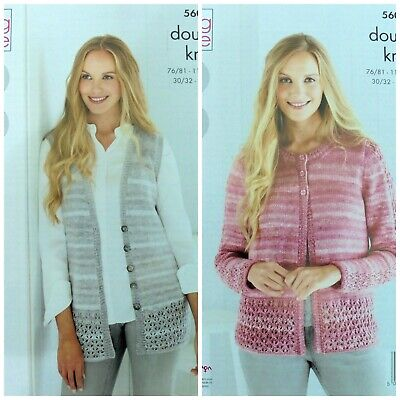 KNITTING PATTERN LADIES Cable Edge Cardigan and Waistcoat DK
