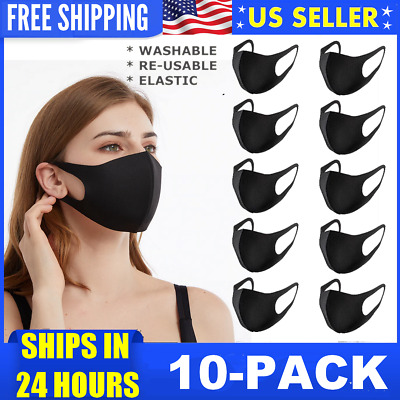 10-Pack Washable Reusable Breathable Black Mouth Cover Face Mask Unisex