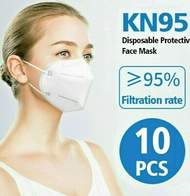 10 Pieces KN95 Face Mask Disposable Medical Grade 5 Layer Protection
