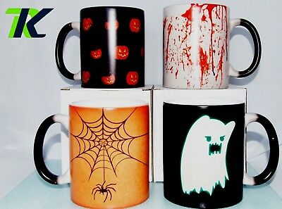 Personalised HALLOWEEN GIFT with your TEXT Heat Changing Colour Mug Cup UNIQUE