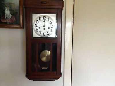 antique wooden wall clock with pendulum,WORKING
