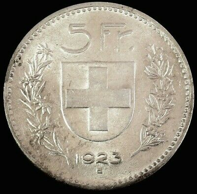 1923 B Silver Switzerland 5 Francs William Tell Coin Au - Mint Condition