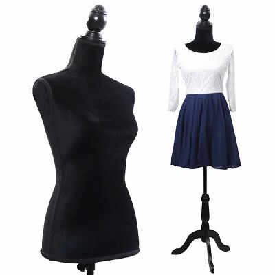 Female Mannequin Torso Dress Form Display W/ Black Tripod Stand New Black