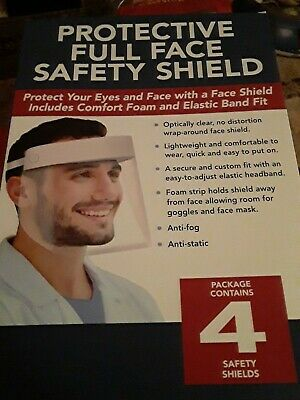 ANTI-FOG Protective Full Face Safety Shield  Anti-Static Lightweight 4 Pack New!